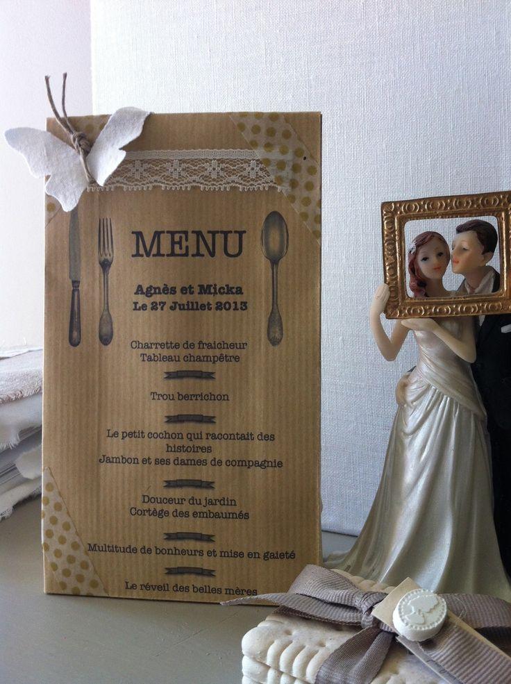 menu et contenant a dragees ou bonbons pour mariages champetre ou bapteme par plume de fee. Black Bedroom Furniture Sets. Home Design Ideas