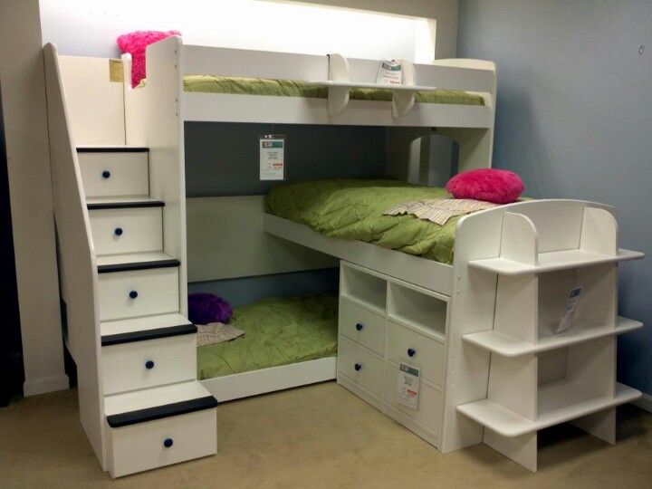 Triple bunk bed home decor pinterest triplets the for Triple bunk bed