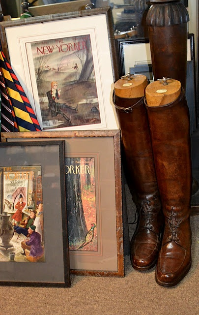 Love the framed New Yorker covers and the brown field boots! I still show in my brown Vogels!