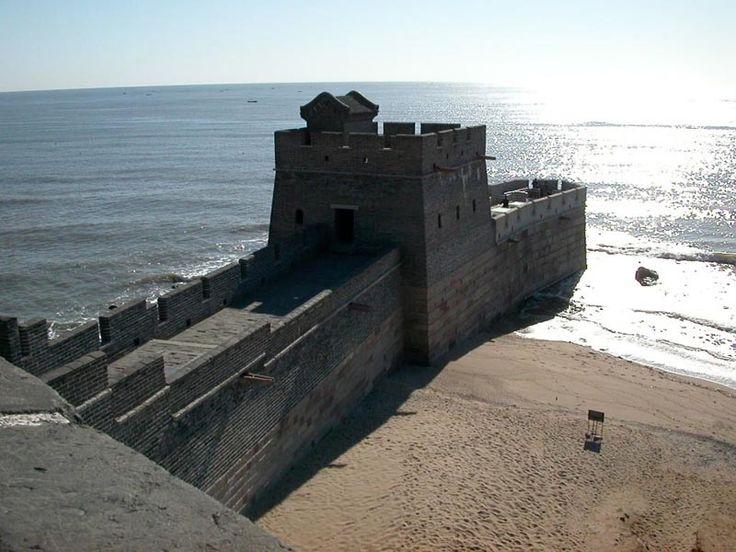 where the great wall ends at sea shanhai pass shanhaiguan / LOVE it!