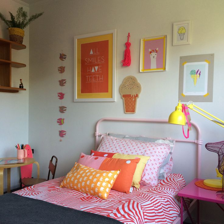 #kidsbedroom #kidsStyling @endemicworld #artprints #gregstraight #Theartroom #tassle #aliceberry #bedspread #kipandco #pinkbed #yellowlamp #bunny @freedomnz #styling by #places&graces