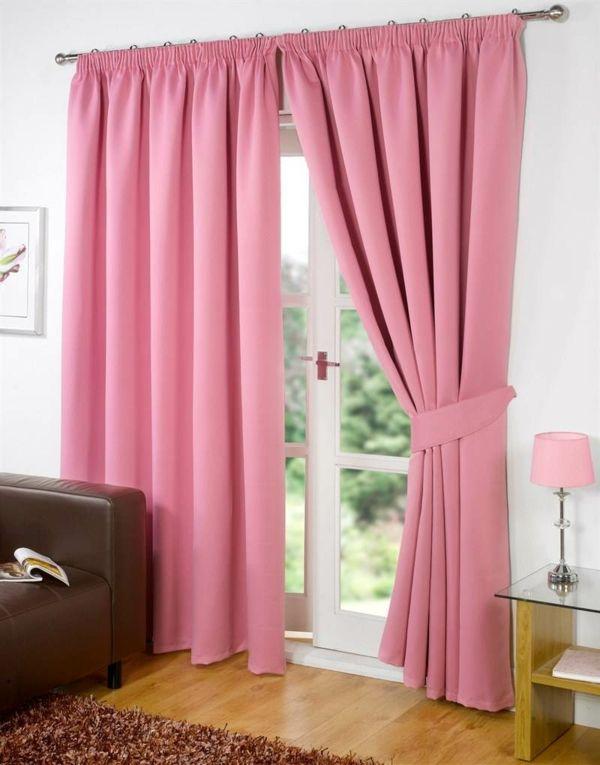 Rosa Gardinen Fenster Dekorieren Gardine Blickdicht Wohnzimmer Modern