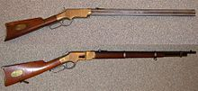 "Winchester rifle is a comprehensive term describing a series of lever-action repeating rifles manufactured by the Winchester Repeating Arms Company. Developed from the 1860 Henry rifle, Winchester rifles were among the earliest repeaters. The Model 1873 was particularly successful, being colloquially known as ""The Gun that Won the West"". Above the 1860 Henry and the 1866 Winchester Musket."