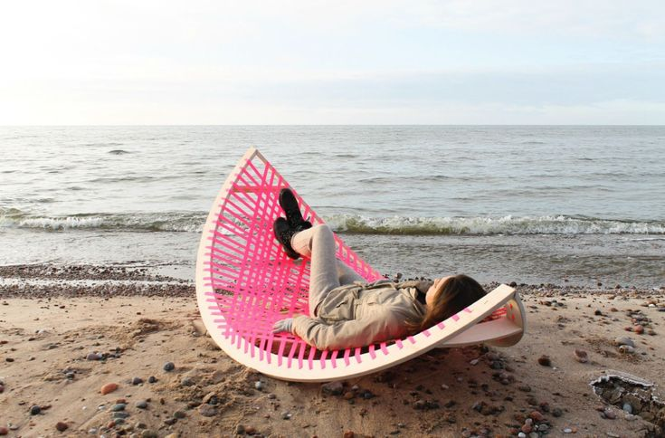 Panama Banana is a rocking pink hammock that doubles as a soccer goal post.