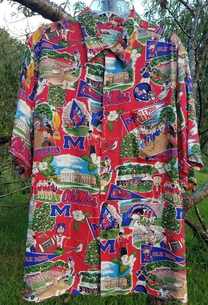 0cea51d4 Ryen Spooner Sports Mens Hawaiian Shirt Football Ole Miss 100% Spun Rayon  Large #ReynSpooner #ButtonFront