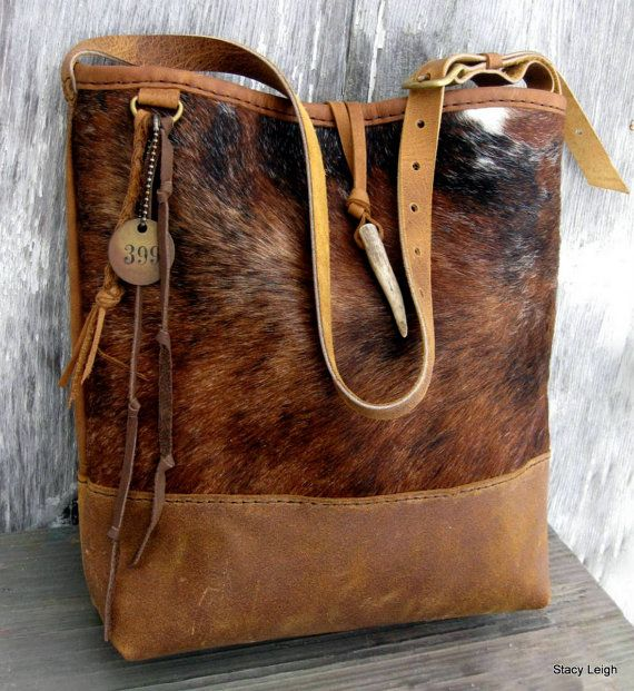 Hair on Cowhide and Rocky Mountain Leather Bucket Bag by Stacy Leigh