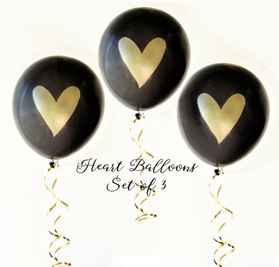 Black & Gold Balloons Gold Heart Balloons by MailboxHappiness