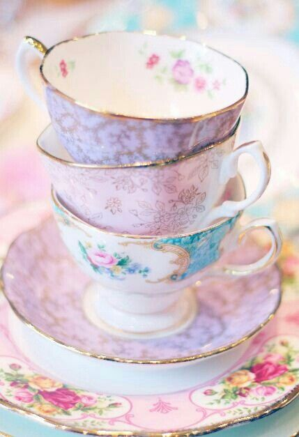 Vintage rose pattern china teacups and saucers - so elegant, feminine and lovely in pastel pink, lavender and blue.
