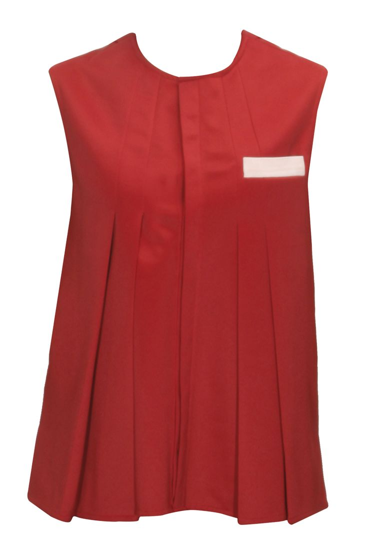 Red pleated shirt available only at Pernia's Pop-Up Shop.