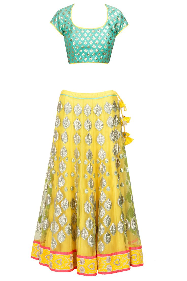 Yellow and blue applique lehenga set available only at Pernia's Pop-Up Shop.