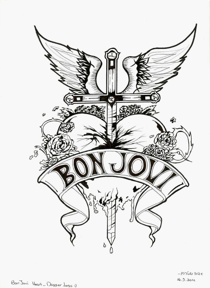 Bon Jovi Heart And Dagger Logo Black And White By