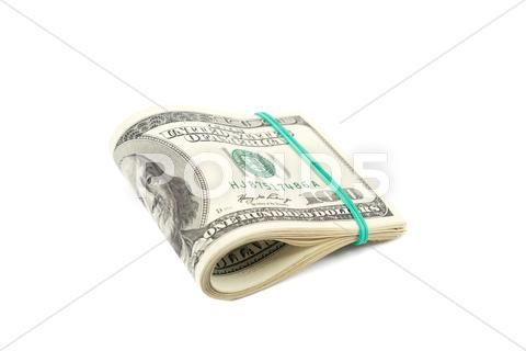 Roll of money isolated on white background. one hu…