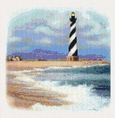 Cape Hateras Lighthouse cross stitch pattern.