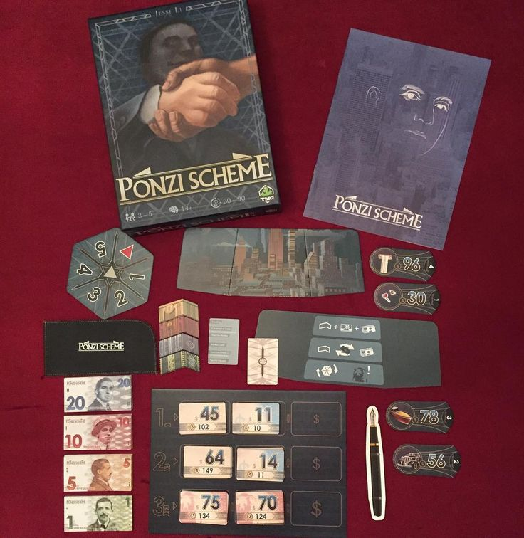 Game of the Week--Ponzi Scheme! Players are scammers trying to trick investors with the promise of high returns! #tabletop #games #gaming #boardgames #ponzischeme #tmg