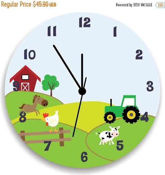 SPRING SALE Boys Bedroom Clock Life in Farm Nursery Wall