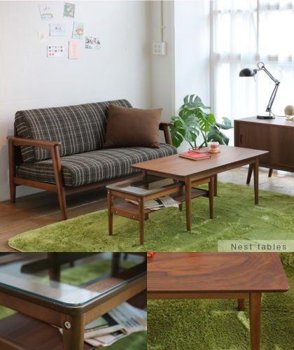 大小のサイズで入れ子に出来るネストテーブルも アメリカンウォールナット突板仕様で大人ナチュラルに。 エモのネストテーブルになったセンターテーブルです。