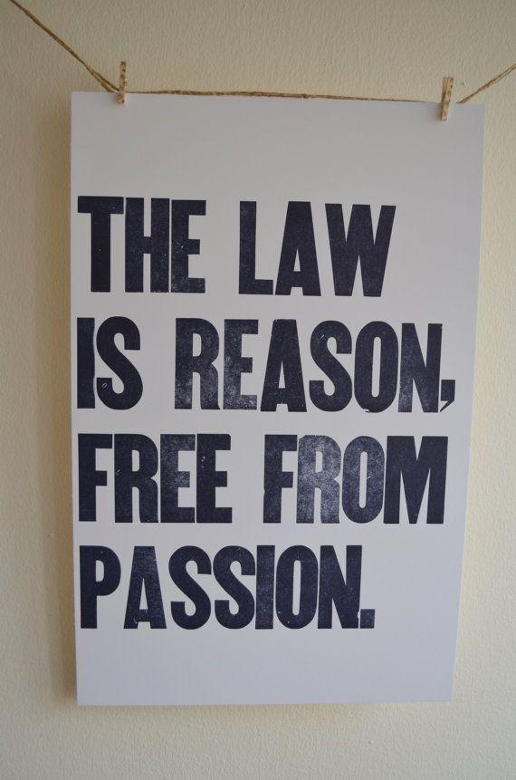 Letterpress Poster Law Aristotle by LetterandthePress on Etsy
