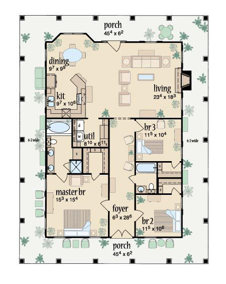First Floor Plan of Country House Plan 56092 - lake house!