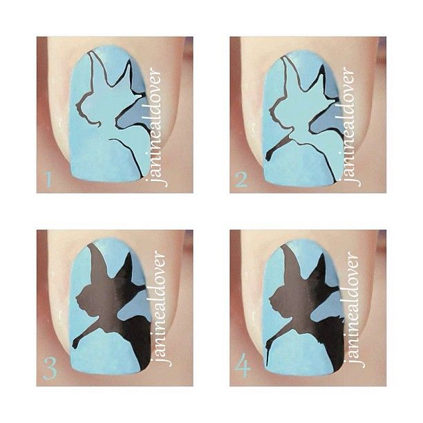 Plus here's the tutorial for how to do Tinkerbell's Silhouette Nail Art...x