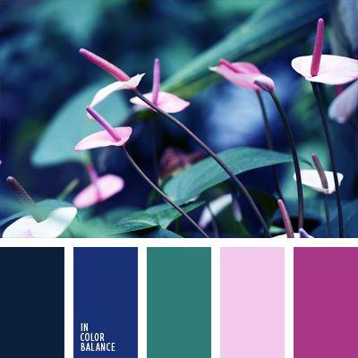 azul medianoche, azul turquí, color azul turquí, color casi negro, color lila, color verde azulado, matices del azul oscuro, rojo aberenjenado, rosado pálido, tonos rosados, verde azulado.