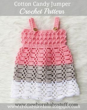 Crochet Baby Dress Cotton Candy Jumper, Crochet Baby Dress Pattern... Check more at https://www.newbornbabystuff.com/crochet-baby-dress-cotton-candy-jumper-crochet-baby-dress-pattern/