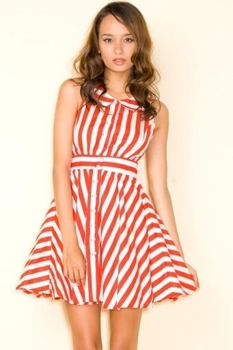 Motel Karina Dress in Red and White Stripe - Motel Rocks - StyleSays