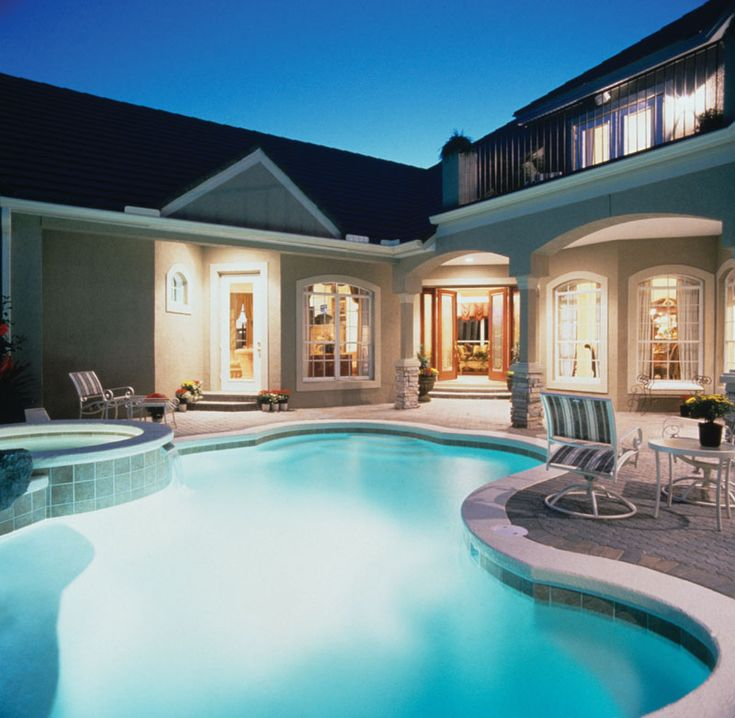 Luxury Pool House Night: Best 25+ House Plans With Pool Ideas On Pinterest