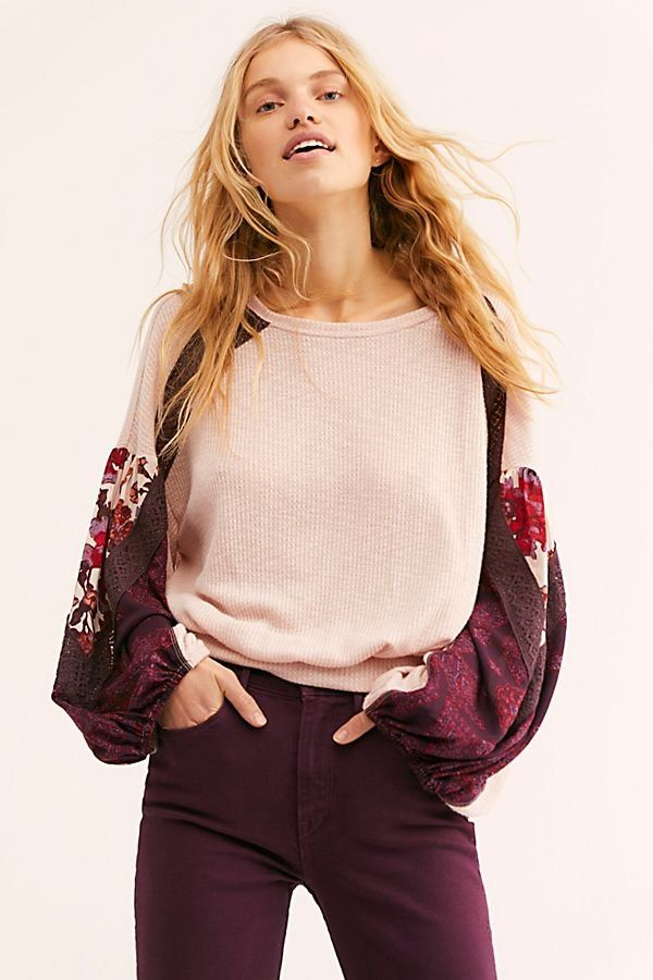 2d84ff70f8 Casual Clash Top - Long Sleeve Light Pink Sweater Top with Silk Sleeves -  Long Sleeve Tops with Patterned Sleeves - Silk Sleeve Tops - Maroon Tops -  Boho ...