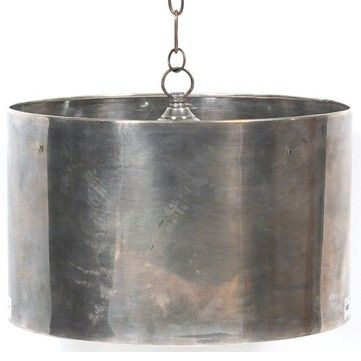"""Industrial Steel Drum Pendant Fixture by Restoration Warehouse - """"Hip Vintage"""" - Base Material: Brass / Finish: Antique Nickel (Industrial). Available in Medium and Large."""