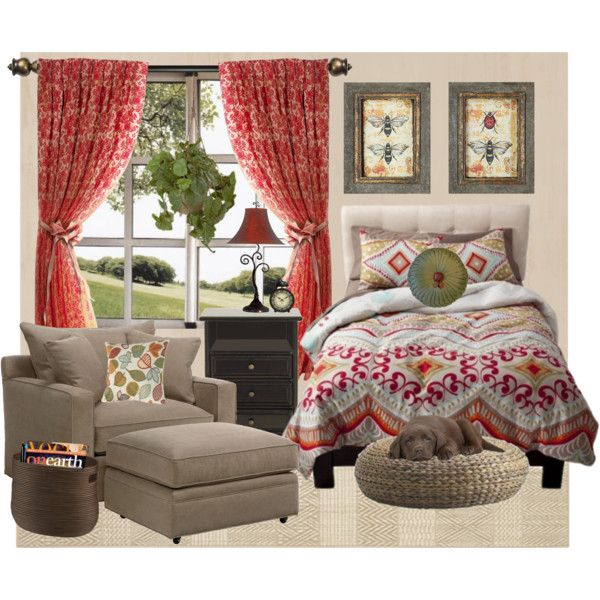 Cozy Country Bedroom by lunachick on Polyvore featuring interior, interiors, interior design, home, home decor, interior decorating, Ballard Designs, Crate and Barrel, PLANT and Marika