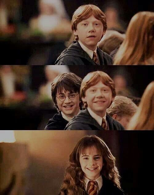 I loved this part from movie 2. The way Ron & Harry both smile when they first see Hermione. She is okay and unpetrified.  Hermione runs toward them and embraces Harry. She shakes hands with Ron. Ron & Hermione were in love way back then. Their friendship would last forever.