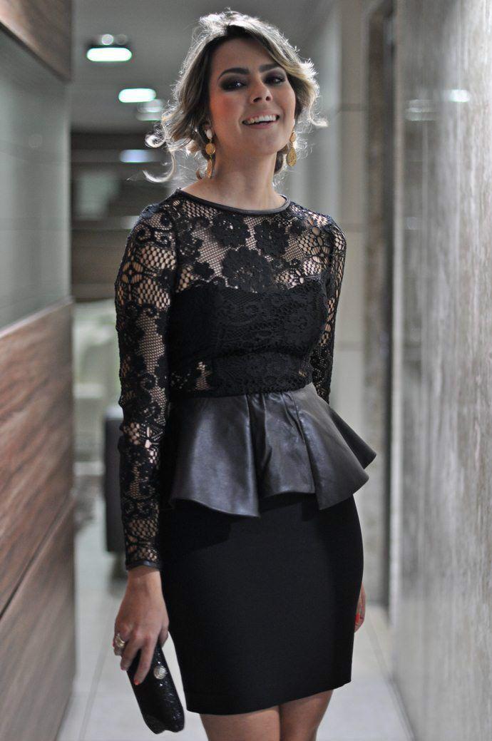 New Womens Zara Black Lace Leather Peplum Frill Dress Cocktail