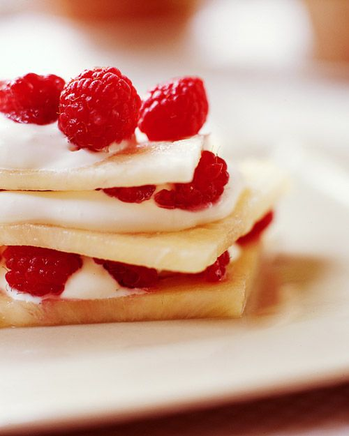Pineapple Raspberry Napoleon~a healthful version of a Napoleon, high-fat puff pastry replaced with layers of thinly sliced pineapple..and lighter creme fraiche~def making this