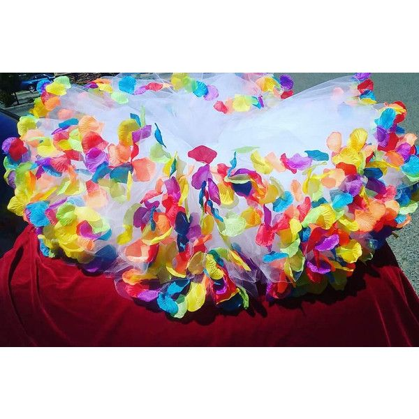 Adult Rainbow flower petal tutu, rainbow tutu, tea length skirt, gay... ($55) ❤ liked on Polyvore featuring costumes, rainbow unicorn halloween costume, rainbow costume, adult unicorn costume, unicorn costume and adult costumes