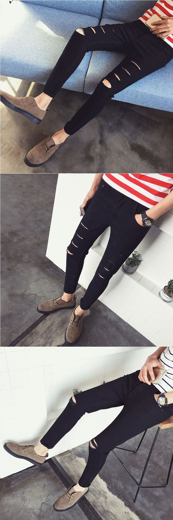 2017 New Men's White Jeans Fashion Design Slim Fit Casual Skinny Ripped Jeans For Men/Black Jeans