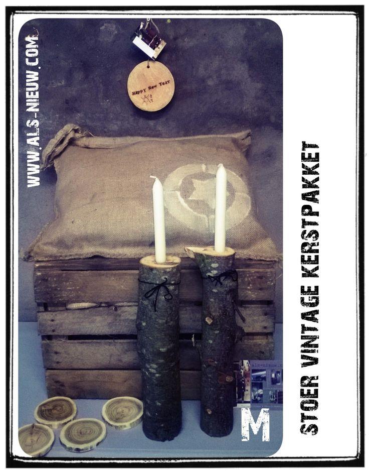 Stoer kerstpakket # Geef ns wat anders dan een standaard pakket # Handmade # stoer # boomstam # jute # eigen naam erin branden # www.als-nieuw.com #