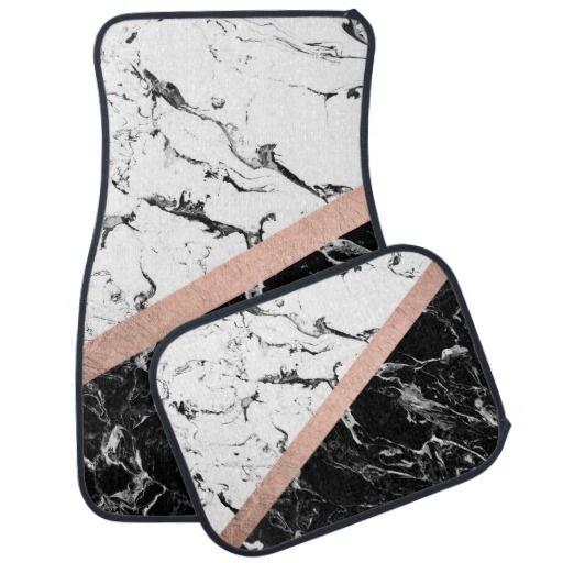 Trendy black white marble color block rose gold car floor mat