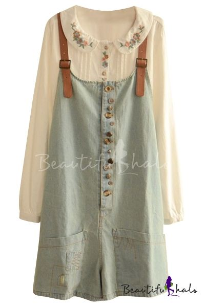 Casual Style Vintage Delicate Button Embellish Denim Overalls                                                                                                                                                                                 More