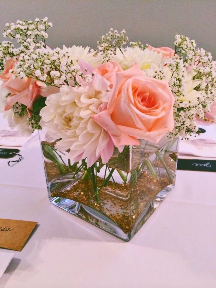 Southern bbq wedding rustic coral peach centrepieces with for Table coral sample
