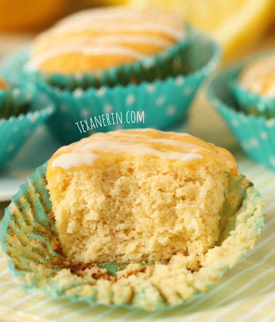 Grain-free and gluten-free lemon muffins that taste just like pound cake! | texanerin.com Leave glaze off for sugar free.