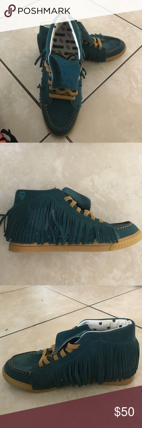 Fringe sneakers Teal and brown suede fun comfortable sneakers kz kruzin Shoes Moccasins