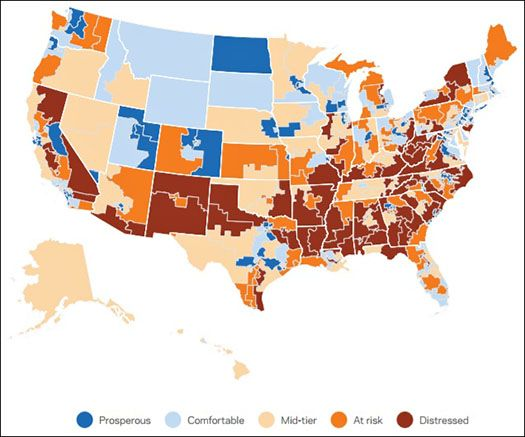 Distressed Communities in United States (Dark Red) Source: Economic Innovation Group