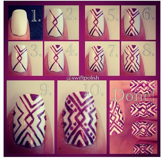 Aztec nail art tutorial-looks like a lot of work, but that's the price of beauty. Haha