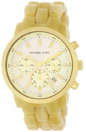 Michael Kors Watches Ladies Chronograph Horn (Horn)Woman Watches, Watches Lady, Fashion, Michael Kors Outlets, Chronograph Horns, Michael Kors Watches, Ivory Tone, Lady Chronograph, Chronograph Gold