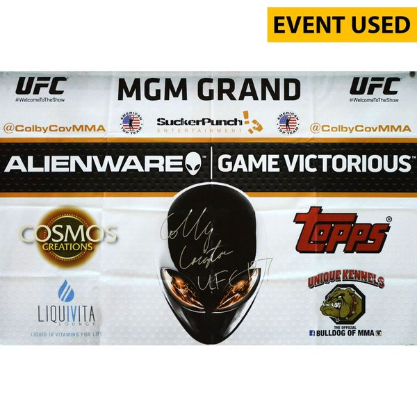 Colby Covington Ultimate Fighting Championship Fanatics Authentic Autographed UFC 187 Event-Used Sponsor Banner with UFC 187 Inscription - Defeated Mike Pyle via Unanimous Decision - $399.99