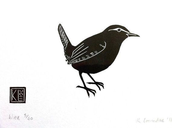 Wren - woodcut print 2011 - Kate Laundon, Scotland U.K.