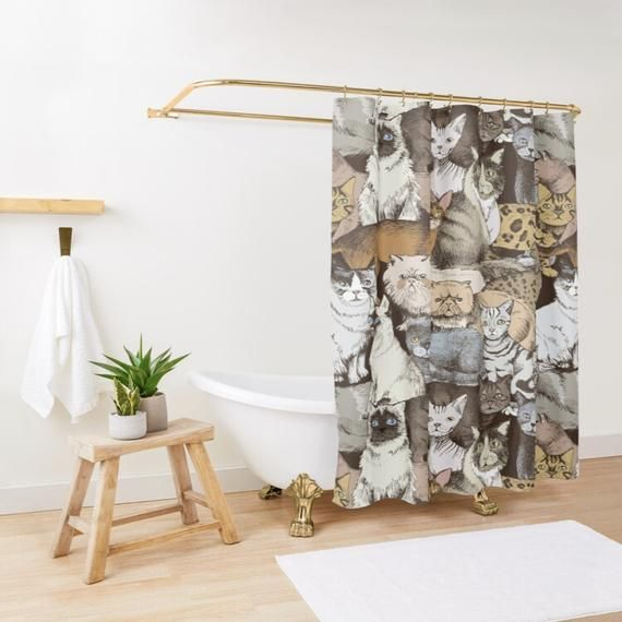 Cats Shower Curtain Cats Lover Gift Kids Shower Curtain Etsy Cat Shower Curtain Bathroom Decor Bathroom Shower Curtains