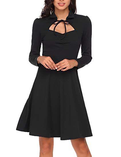 Retro Kleid Meaneor Damen Vintage Rockabilly Abendkleid Elegant VLqzUMpjSG