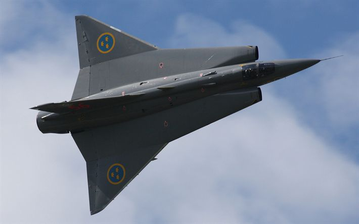 Download wallpapers Saab 35 Draken, 4k, Swedish supersonic fighter, military aircraft, Swedish Air Force, Saab