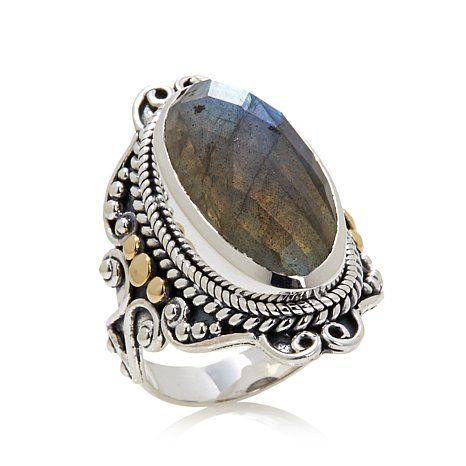 Shop Bali Designs by Robert Manse Elongated Oval Labradorite Sterling Silver Ring, read customer reviews and more at HSN.com.